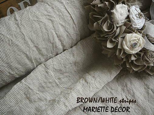 odstín  BROWN/WHITE stripes..100% len, š.163cm