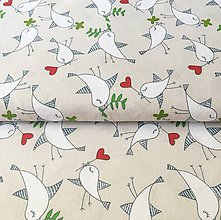 Textil - zaľúbené vtáčiky, 100 % bavlna Čechy, šírka 140 cm - 11655822_