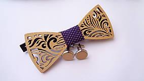 Pánsky drevený motýlik levanduľa + manžetové gombíky