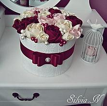 Dekorácie - Box ruží zo stúh. - 11658950_