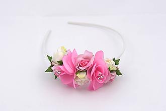 Ozdoby do vlasov - Čelenka bielo-ružová ruža - 11657972_