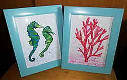 Obrazy - Koral, morský koník - akvarelový obraz - 11656109_
