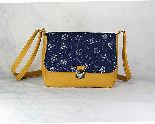Modrotlačová kabelka Eliška žltá 2