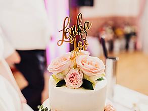 Dekorácie - Zápich na svadobnú tortu zrkadlový (Zlatý) - 11659387_