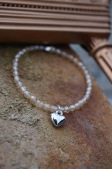 Náramky - Náramok Krystal listr so srdiečkom - 11662110_