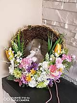 Dekorácie - Velkonocny veniec so zajacom 32cm - 11660630_