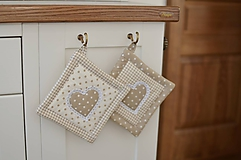 Úžitkový textil - Béžové bodkované chňapky - 11662962_