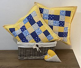 Úžitkový textil - vzor žltá s modrou  (Prehoz 110 x 200 cm) - 11664172_