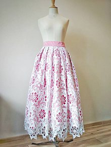 Sukne - Ružová krajková sukňa - 11665112_