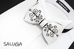 Doplnky - Vyšívaný folklórny pánsky motýlik - čierny - biely - 11662948_