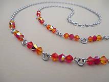 Iné šperky - Swarovski - retiazka na okuliare - oranžovo/červená - chirurgická oceľ - 11663641_