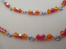 Iné šperky - Swarovski - retiazka na okuliare - oranžovo/červená - chirurgická oceľ - 11663650_