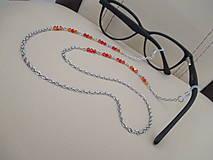 Iné šperky - Swarovski - retiazka na okuliare - oranžovo/červená - chirurgická oceľ - 11663651_