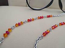 Iné šperky - Swarovski - retiazka na okuliare - oranžovo/červená - chirurgická oceľ - 11663655_