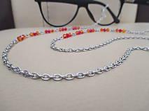 Iné šperky - Swarovski - retiazka na okuliare - oranžovo/červená - chirurgická oceľ - 11663657_