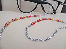 Iné šperky - Swarovski - retiazka na okuliare - oranžovo/červená - chirurgická oceľ - 11663660_