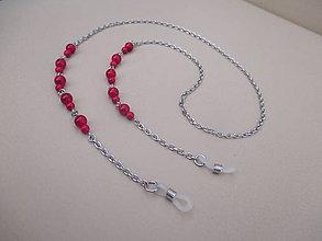 Iné šperky - Retiazka na okuliare - minerál howlit červený - chirurgická oceľ - 11663773_