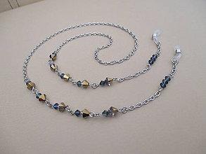 Iné šperky - Swarovski - retiazka na okuliare - modro/starozlatá - chirurgická oceľ - 11663824_