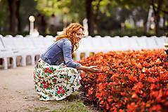 Sukne - MARÍNA - skladaná kvetinová sukňa - 11665150_