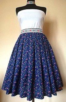 """Sukne - Skladaná sukňa s vreckami - pestrofarebné drobné kvietky """"modrotlač"""" - 11663266_"""