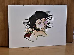 Kresby - Dievča počúva hudbu, art print, kresba, nástenná dekorácia do domu - 11663290_