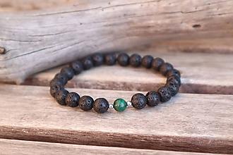 Šperky - Pánsky náramok z minerálu láva a malachit - 11665334_