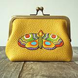 Peňaženky - Motýl - kožená ramečková peněženka - 11664128_