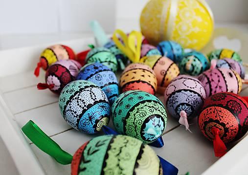 Dekorácie - slepačie vajíčka XL - pruhované /pastelové farby / - 11664582_