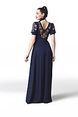 Šaty - Šaty dlhé Joy tmavomodré vyšívané - 11666155_