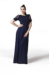 Šaty - Šaty dlhé Joy tmavomodré vyšívané - 11666156_