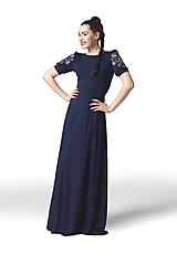 Šaty - Šaty dlhé Joy tmavomodré vyšívané - 11666159_
