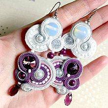 Náušnice - Lavender White Elegant Soutache Earrings / Výrazné náušnice - sutašky - 11667494_