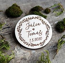 Darčeky pre svadobčanov - Magnetky pre svadobčanov venček 5 - 11668187_