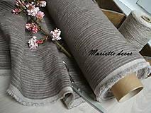 Textil - odstín stripes SMOKY BROWN/WHITE..100% len metráž - 11668318_