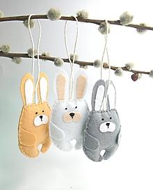 Dekorácie - Veľkonočné zajačiky (natur) - 11667479_