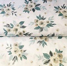 Textil - modré akvarelové ruže, zmesové plátno, šírka 140 cm - 11667801_