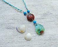 Náhrdelníky - Náhrdelník živica, drôt, korálky V - 11667871_