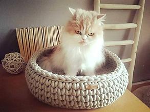 Pre zvieratká - Háčkovaný pelech HYGGE pre mačičku - 11666460_