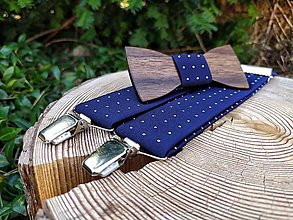 Doplnky - Pánsky drevený motýlik a traky - 11667947_