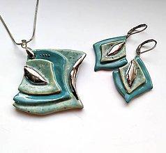 Sady šperkov - Sada šperkov z keramiky- Elegantná mentolová - 11666433_