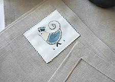 Úžitkový textil - ľanové prestieranie s ručnou výšivkou sada 6 ks - 11667998_