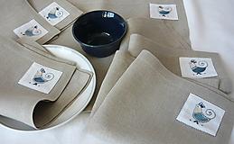Úžitkový textil - ľanové prestieranie s ručnou výšivkou sada 6 ks - 11668013_