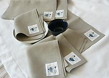Úžitkový textil - ľanové prestieranie s ručnou výšivkou sada 6 ks - 11668014_