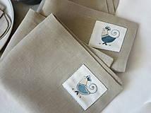 Úžitkový textil - ľanové prestieranie s ručnou výšivkou sada 6 ks - 11668015_