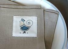 Úžitkový textil - ľanové prestieranie s ručnou výšivkou sada 6 ks - 11668016_