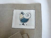 Úžitkový textil - ľanové prestieranie s ručnou výšivkou sada 6 ks - 11668017_