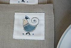 Úžitkový textil - ľanové prestieranie s ručnou výšivkou sada 6 ks - 11668020_
