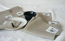 Úžitkový textil - ľanové prestieranie s ručnou výšivkou sada 6 ks - 11668031_