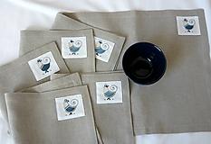Úžitkový textil - ľanové prestieranie s ručnou výšivkou sada 6 ks - 11668032_