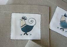 Úžitkový textil - ľanové prestieranie s ručnou výšivkou sada 6 ks - 11668033_